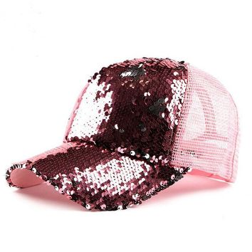 Trendy Winter Jacket XEONGKVI Korean Fashion Sequins Baseball Caps Spring Summer Cotton Hats For Women And Men Duck tongue Net Cap Brand Snapback AT_92_12