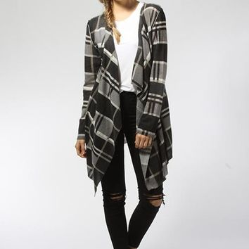 Plaid Open Cardigan