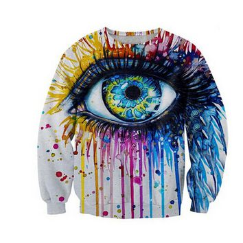 men/women's 3D graphic sweatshirts funny print big eye oil painting novelty crewneck sweatshirt winter pullover hoodies 3d