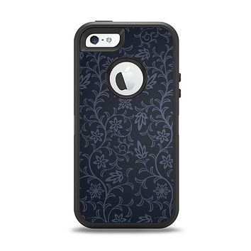 The Dark Black & Purple Delicate Pattern Apple iPhone 5-5s Otterbox Defender Case Skin Set
