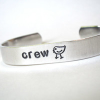 rowing jewelry, crew chick aluminum cuff bracelet, hand stamped aluminum cuff bracelet, crew jewelry, gift for rower, sports jewelry