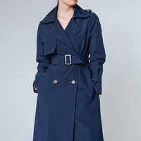 Navy Trench Coat Navy Outwear Dark Blue Trench Coat Navy Trenchcoat Ladies Trench Coat Navy Trench Women