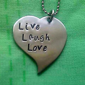 FREE SHIPPING - Live Laugh Love Personalized Hand Stamped Heart Necklace - Stainless Steel