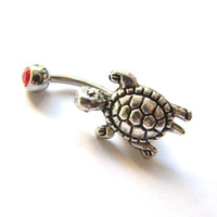 Silver Turtle Bellybutton Ring, Non Dangle Belly Rings Sea Turtle Belly Button Jewelry