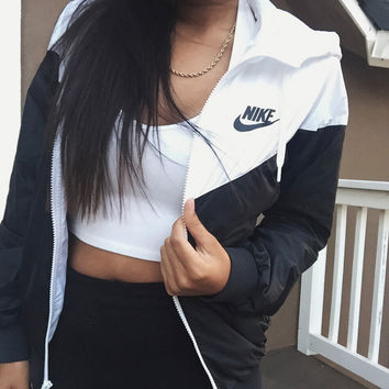 "Casual ""NIKE"" Print Hooded Jacket Coat Sweatshirt"