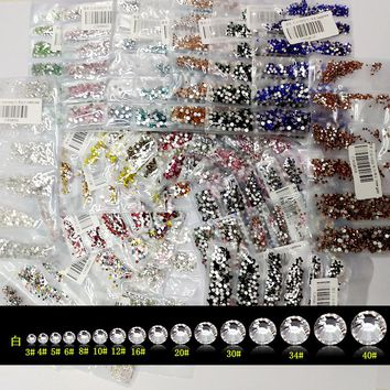 New 22 Colors SS3-SS10 Small Sizes Rhinestones Nail Art Crystal Glass Rhinestones For Nails 3D Nail Art Decoration Gems