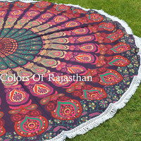 COR's Hippie Mandala Tapestry Round Roundie Wall Hanging Beach Towel Throw Yoga Mat Round Tapestry 72""