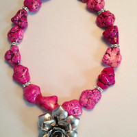 Pink stone necklace by SouthernnShimmer on Etsy
