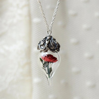 Terrarium Necklace Red Rose Flower Glass Vial