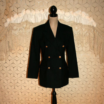 Womens Black Wool Pea Coat Peacoat Double Breasted Jacket Gold Buttons Black Wool Blazer Jacket Evan Picone Size 12 Large Womens Clothing