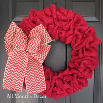 Red Burlap Wreath with Red Chevron Burlap Bow, Rustic Country Decor, Fall Winter Christmas Holiday Year Round, Fall, Porch Door