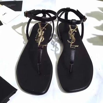YSL Women Fashion Ankle Strap Sandals Flats Shoes