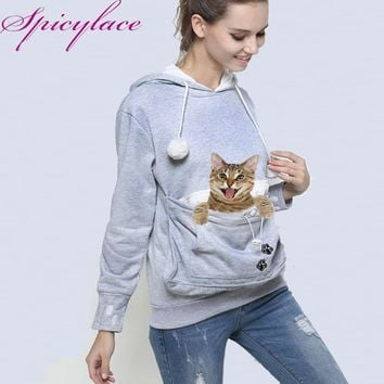 Cat Lovers Hoodie Kangaroo Dog Pet Paw Emboridery  Autumn Pullovers Cuddle Pouch Sweatshirt Pocket Animal Ear Hooded