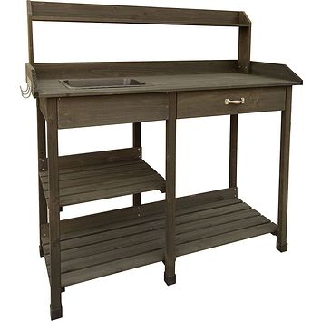 Outdoor Garden Bench Work Table with Drawer in Dark Brown Wood Finish