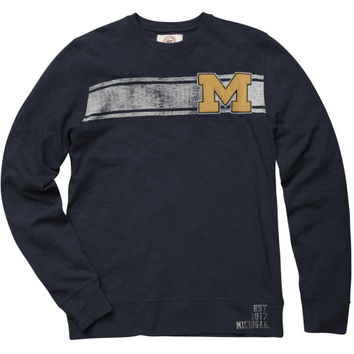 47 Brand Michigan Wolverines Navy Blue Letterman Crewneck Sweatshirt