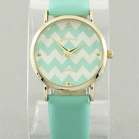 Mint Chevron Print Watch from P.S. I Love You More Boutique