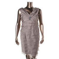 London Times Womens Chiffon Tiered Cocktail Dress