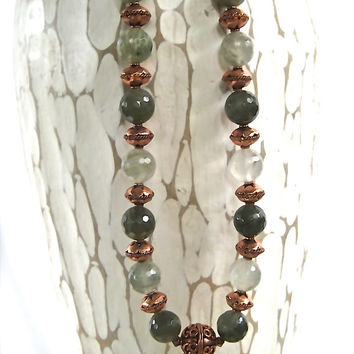Faceted Moss Agate Necklace Pale Green Stones with Ornate Ethiopian Copper Beads Dark Forest and Pale Green Gemstone Jewelry