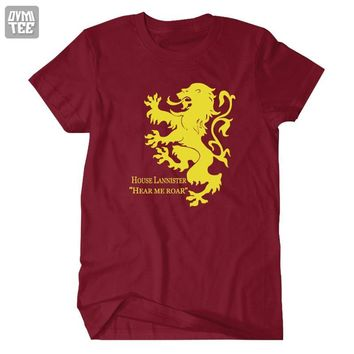 House Lannister Hear Me Roar Song of ice and fire  Game of Thrones short sleeve tee t shirt accesories costume jersey