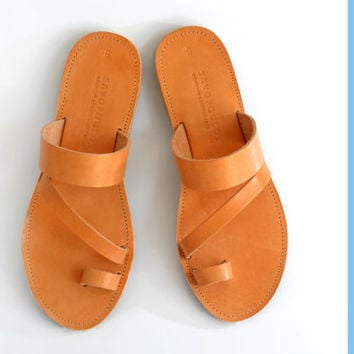 Leather Sandals, Toe ring extra strap sandal, Handmade Greek sandals