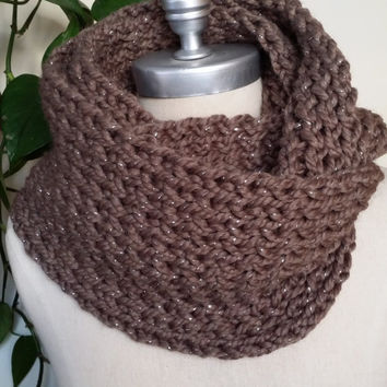 Taupe Scarf, Infinity Scarf, with Metallic Accent Knit Scarf, Loop Scarf, Mobius Scarf, Fashion Knitwear, Cold Weather Essentials,