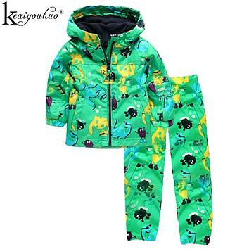 Girls Clothes Sets Autumn Children Clothing Boy Raincoat Sport Suit Print Long Sleeve Waterproof Girls Jacket+Pants Kids Clothes