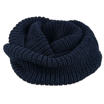 Navy Knitted Funnel Snood
