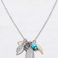 AEO Women's Leaves & Turquoise Charm (Mixed Metal)