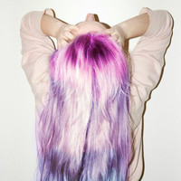 NEW /   MYSTIC   shades of purple  / pastel/ dip dye / free people inspired/ hair wefts/ hair dye/ hilights/ (4) human hair extensions