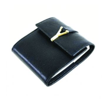 YSL Y Chyc Notebook Black Leather Wallet