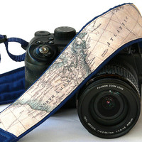 World Map Camera Strap. Dark Blue Camera Strap. Nikon, Canon Camera Strap. SLR, DSLR Camera Strap. Gift For Photographer.