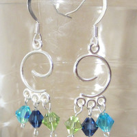 Silver Abstract Swirl Chandelier Earrings, Handmade, Fashion Jewelry, Bold, Multicolored, New Age, Modern Design, Sophisticated Style, Fun