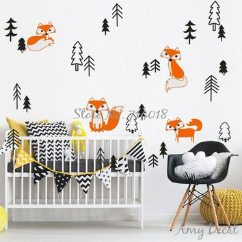 Cute Foxes in the Forest Wall Decal Set Woodland Animal Pine Tree Wall Sticker for Kids Rooms Baby Nursery Wallpaper Decor A863