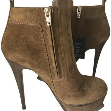 Saint Laurent Brown Tribute Ysl Suede Platform Boots/Booties Size EU 37.5 (Approx. US 7.5) Regular (M, B) 42% off retail