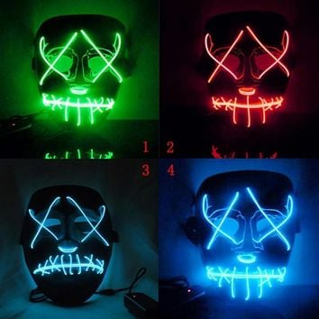 Hot LED Light Mask Up Funny Mask from The Purge Election Year Great for Festival Cosplay Halloween Costume 2018 New Year Cosplay
