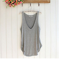 Sleeveless V-Neck Loose Tank Top - 4 Colors