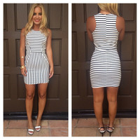 Racer Back Stripe Mini Dress