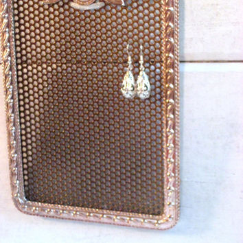 Jewelry Organizer, Coppery Metal Framed Earring Display with pearl cabochon detailing, gold Magnetic Metal insert