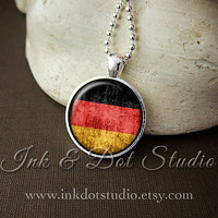 Rustic German Flag Necklace, Germany Flag Necklace, German Flag Pendant