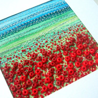 "Poppy field - fabric landscape - stitched beaded art card - 3.5"" x 4.25"""