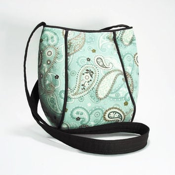 Crossbody Bag Purse/Teal and Brown Paisley Print Fabric Purse Bag/Hip Bag/Fabric Hip Bag/Shoulder Strap Purse Bag