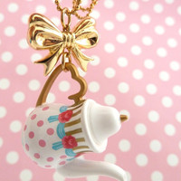 Tea Party Necklace Princess Teapot with gold bow necklace Pendant alice in wonderland white polka dot tea pot unique gifts birthday girls