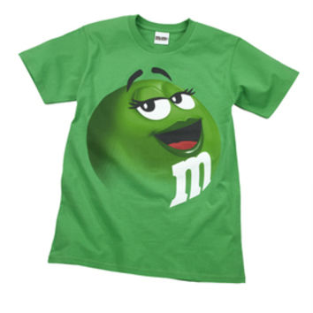 M&M's Candy Character Face T-Shirt - Adult - Green - Small