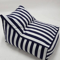Outdoor Bean Bag, blue and white stripes pouf chair, outdoor furniture, pouf cover for kids, kid's room, floor cushion, beanbag cover