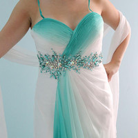 Ready to ship -Mint green And White Long  Gradient Silk Chiffon Prom Graduation Bridesmaid or Formal Evening Dress