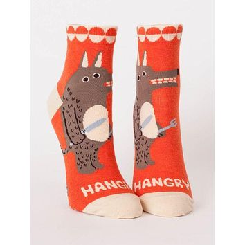 Hangry Women's Ankle Socks in Angry Orange Monster