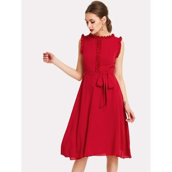 Round Neck Sleeveless Knee Length A-line Dress