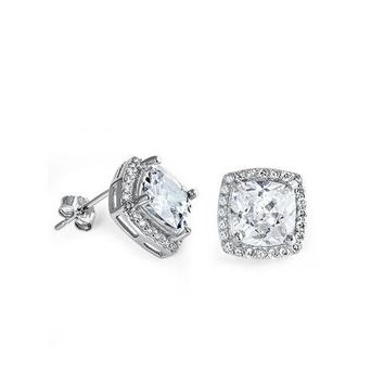 11mm Sterling Silver Cushion Cut CZ Stud Halo Earrings