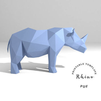 Printable DIY template (PDF).  Rhino low poly paper model. 3D paper trophy. Origami.
