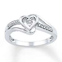 Heart Promise Ring Diamond Accents Sterling Silver